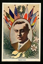 Japan Pre Wwii Postcard Lot Of 3 Wwi Heads Of State Woodrow Wilson Flags Vintage