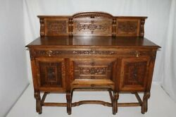 French Oak Sideboard Buffet With Fabulous Carvings Circa19th C