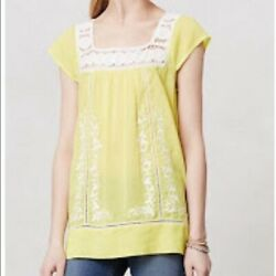 Moulinette Soeurs Yellow Embroidered Top Size 2