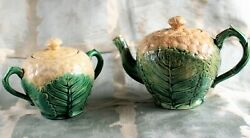 American Majolica Cauliflower Teapot And Sugar Bowl By Griffin Hall Andsmith C.1885