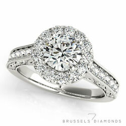 1.16 Ct Natural Diamond Halo Engagement Ring E/si1 Round Cut 14k White Gold