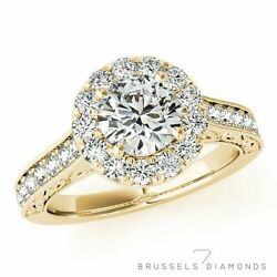1.16 Ct E/si1 Natural Diamond Halo Engagement Ring Round Cut 14k Yellow Gold