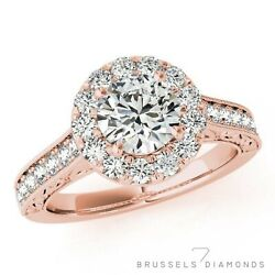 1.16 Ct Natural Diamond Halo Engagement Ring E/si1 Round Cut 14k Rose Gold