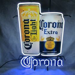 Corona Extra And Light Beer Of Mexico Neon Lit Sign Cans New In Box Made In Usa