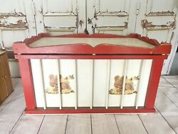 Vintage Childs Circus Wagon Toy Chest Wood Storage Box Antique / Hand Painted