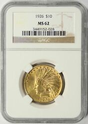 1926 Gold Indian Eagle 10 Ngc Ms62