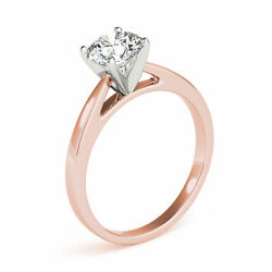 0.70 Ct H/si2 Natural Diamond Solitaire Engagement Ring Round Cut 14k Rose Gold