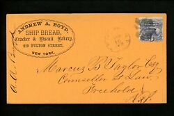Us Postal History 114 Pictorial Issued 1869 Ad Bakery New York Ny Freehold Nj
