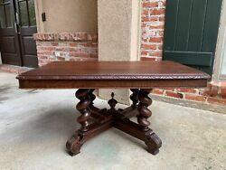 Antique French Carved Oak Coffee Table Barley Twist Rectangle Renaissance