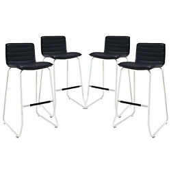Modway Dive Ribbed Faux Leather Upholstered Four Bar Stools Black