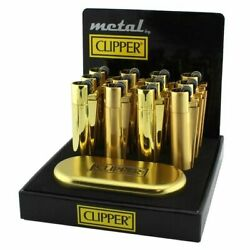 New Clipper Gold Refillable Metal Lighter Display 12ct
