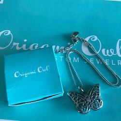 Authentic Origami Owl Silver Sentiment Butterfly Locket Chain Set Nib A