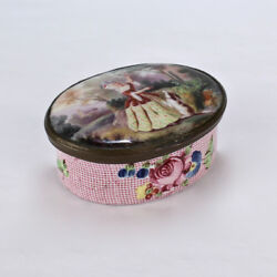 Antique English Battersea Bilston Snuff Or Patch Box W Lady And Begging Dog - Vr