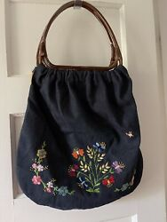 Vtg Hippy Style Denim Floral Embroidered Bag Purse Acrylic Handles Lined 70's MK