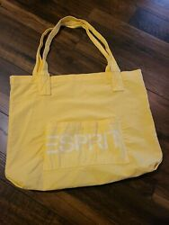 Large Vintage Esprit Canvas Tote/bag Gorgeous Yellow With White Letters So Cute