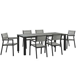 Modway Maine 7-piece Dining Table And Chair Outdoor Set Brown Gray