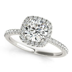 1.00 Ct Natural Round Diamond Engagement Ring Square Halo G/si1 14k White Gold