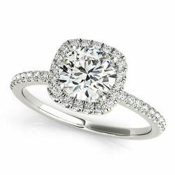 0.90 Ct Natural Round Diamond Engagement Ring Square Halo D/si2 14k White Gold