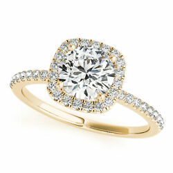 0.90 Ct Natural Round Diamond Engagement Ring Square Halo D/si2 14k Yellow Gold