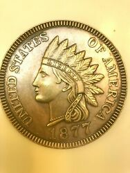 Vintage Oversized 3 1877 Novelty Indian Head Penny Large Cent Coin One Cent