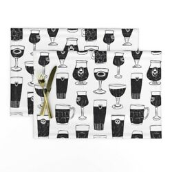 Cloth Placemats Beer Glasses Man Drink Belgian Black And White Set Of 2