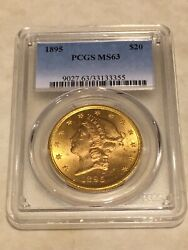 1895 Ms63 Pcgs 20 Double Eagle Liberty Gold Coin Great Appeal Lustrous