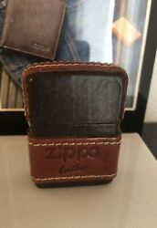 Rare Zippo Leather Body Wrapped Lighter Brown 1993