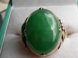 Q237 Rare Genuine 14ct Gold Cabochon Cut Imperial Jade Solitaire Chinese Ring