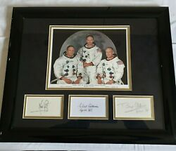 Apollo 11 Nasa Crew Signed Display Armstrong Aldrin Collins Uacc Certified