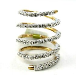 Natural Round Diamond Wrap Bypass Lady's Ring Band 18k Yellow Gold 1.54ct