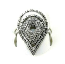 Natural Round Diamond Cluster Pear Shape Ladyand039s Ring 18k White Gold 1.14ct