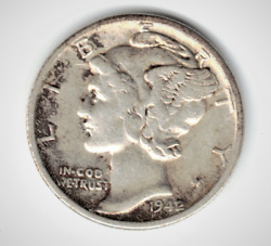 1942 42 Over 41 Mercury Silver Dime Key Date Error For Father's Day Gift