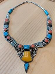 Antique American Indian Silver And Turquoise Jewelry Necklace 4