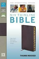 Niv, Thinline Bible, Bonded Leather, Burgundy, Indexed, Red Letter - Good
