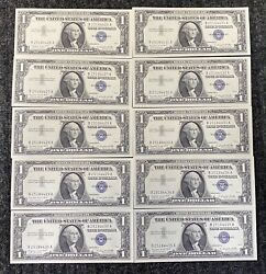 1957 A 1 10 Unc Silver Certificates Lot Of 10 Sequentially Notes, Fr 1620