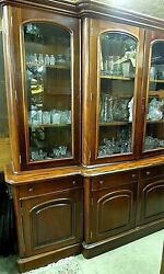 Breakfast China Cabinet Arched Glass Doors Drawers
