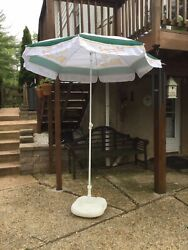 Bitburger Advertising Umbrella With Base Stand Water Or Sand Filled Store Displ