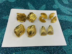 Vtg Lot Of 4 Pair Earrings Different Shapes,style And Sizes, Pierced Good Quality