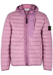 Stone Island 41225 Loom Woven Down Chambers Jacket Hooded Rose Pink Large L