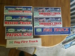 Nib 7p Hess Toy Truck Lot Fire And Emergency Years 1989 93 94 96 2000 05 05