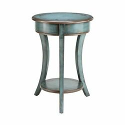 Round Accent Table With Open Storage Shelf In Hand-painted Turquoise Finish