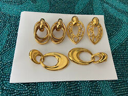 Vtg Lot Of 3 Pairs Large Gold Tone Pierced Earrings Very Good Quality