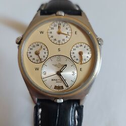 Rare Breitling 80840 18k/ss World Time Pilots Vintage Menand039s Watch 4 Time Zones