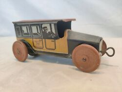Vintage Mohawk Toys Yellow Taxi No. 361 Tin Litho Wind Up Made In Usa Works.