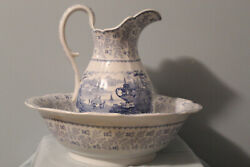 Beautiful Agricultural Vase Light Blue Scalloped Pitcher And Basin