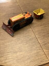 Marx Climbing Tractor Windup Works Bulldozer With Trailer And Front Blade Works