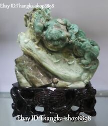 Natural Dushan Jade Carving Wealth Baicai Money Coin Golden Toad Animal Statue