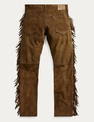 1800 Rrl Limited Edition Italian Suede Leather Western Pant-men-34