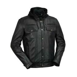 Menand039s Motorcycle Axel Ykk Zipper Removable Zip-out Hood Leather Jacket Black 3xl