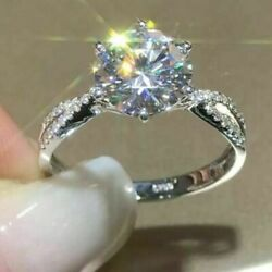 2.50 Ct Round Vvs1/d Diamond Engagement Ring Sterling Silver Woman Fine Jewelry